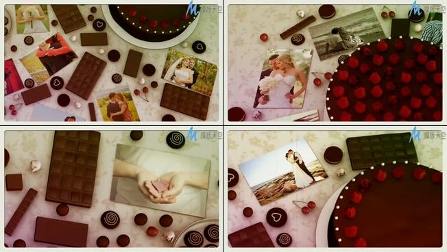浪漫唯美的巧克力盛宴情侣相册ae模板