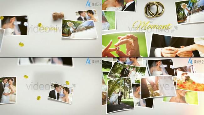 浪漫唯美的爱情婚礼相册从天而降的ae模板