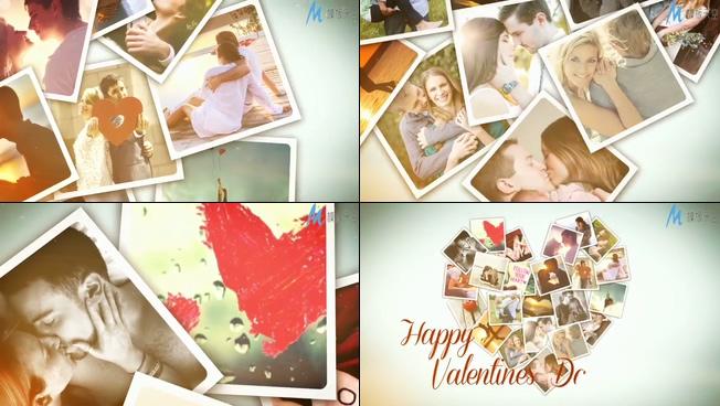 唯美梦幻的情侣相册组成爱心的情节人礼物ae模板