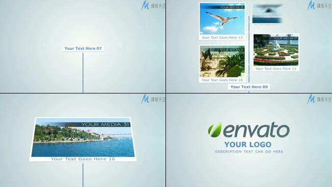 以时间线展示自然景点的宣传视频ae模板