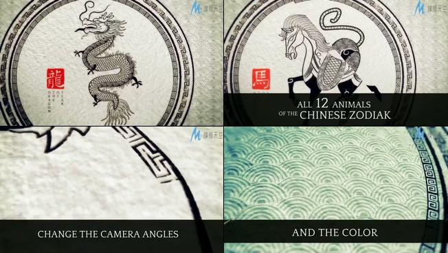 中国传统素描十二生肖迎接新年的ae模板