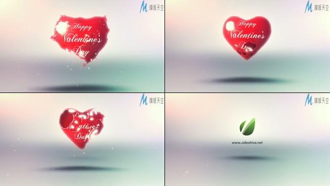 浪漫唯美的红色爱心情人节宣传ae模板