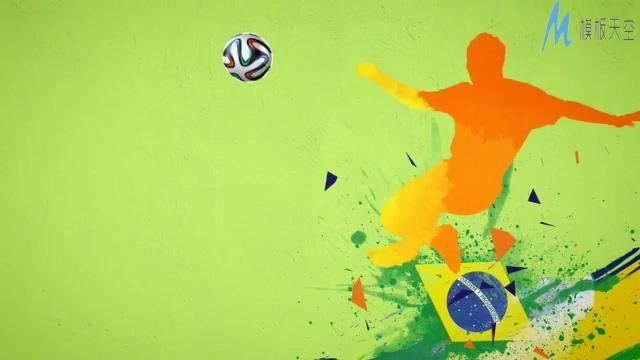 彩色涂鸦动画演示足球运动宣传ae模板