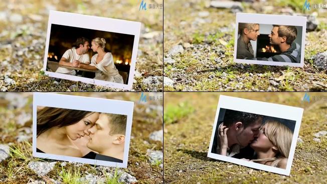 在自然岩石中的浪漫爱情相册ae模板