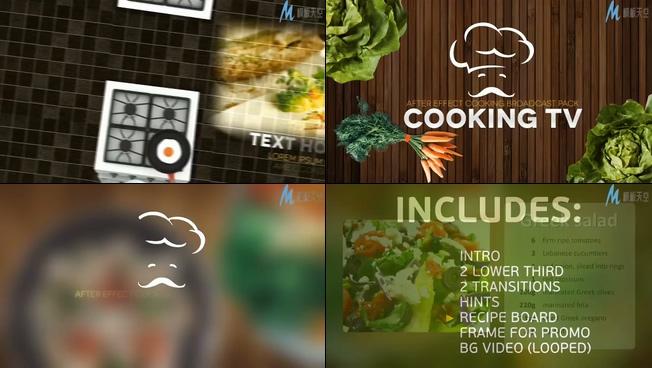 美食烹饪节目宣传预告片ae模板