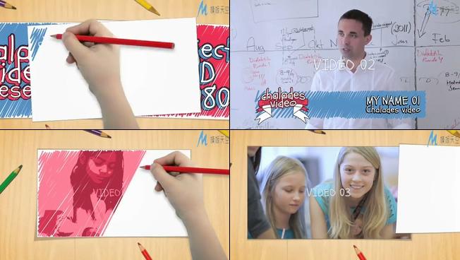 儿童彩色绘画时尚宣传ae模板