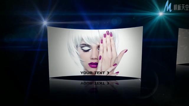 经典的视频广播蓝色滑动显示视频ae模板