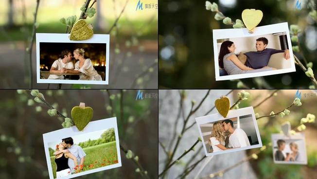 清新唯美的户外爱情相册展示ae模板