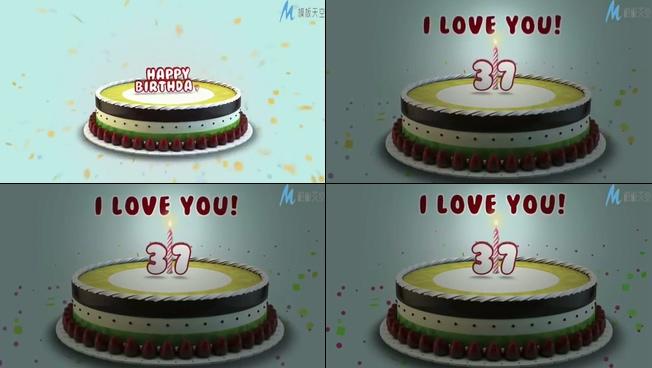 浪漫唯美的生日蛋糕庆祝生日的ae模板