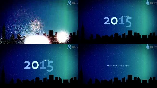 烟花绽放欢度新年的视频ae模板