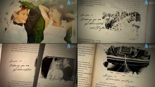 唯美梦幻的复古婚礼爱情相册ae模板