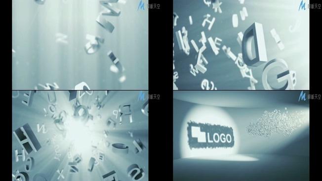 时尚的白色字母组成企业logo的ae模板