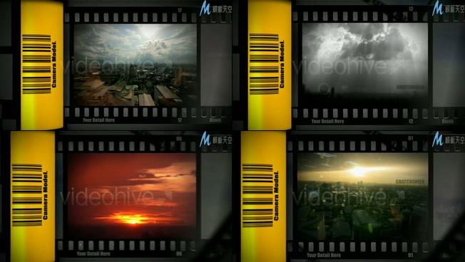电影胶片展示城市风貌的ae模板