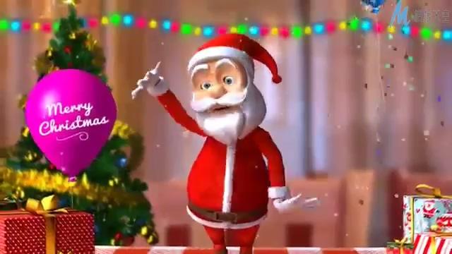 欢乐喜庆的圣诞老人跳舞庆祝圣诞节的ae模板