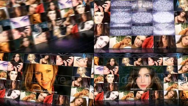 时尚动感的特效时尚照片墙展示ae模板
