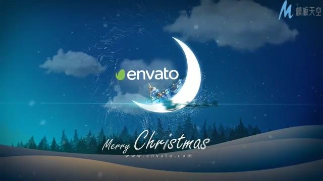 唯美梦幻的月亮圣诞节宣传ae模板