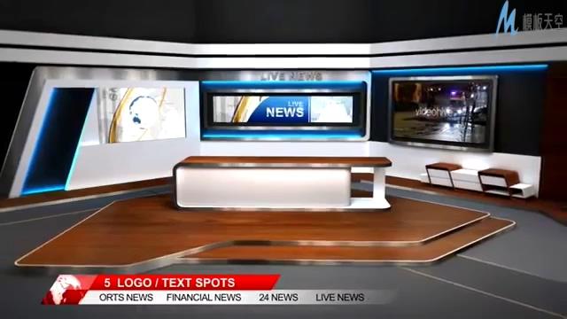 时尚经典的虚拟电视演播室字幕解说ae模板