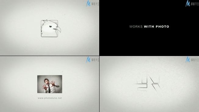 时尚动感的素描墨水展示宣传标志的ae模板