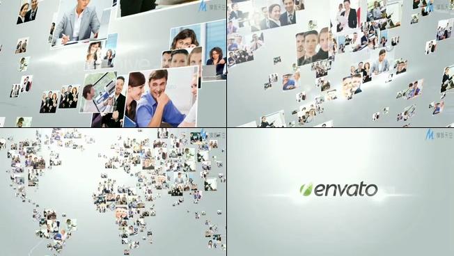 严肃端庄的企业宣传相册揭示企业标志的ae模板