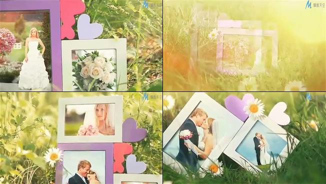 浪漫唯美的鲜花盛开爱情相册展示的ae模板