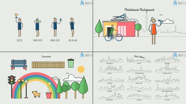 动感趣味的MG动画解释交通工具的ae模板