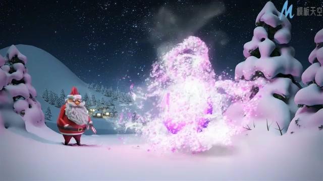 唯美梦幻的圣诞魔术显示时尚标志的ae模板