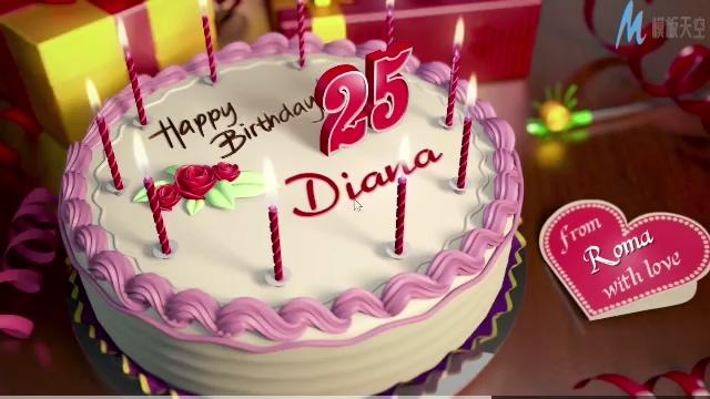 浪漫唯美的生日蛋糕可调节内容的ae模板