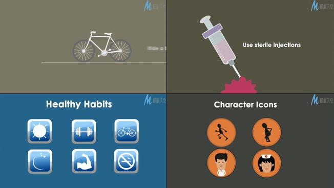 MG动画宣传健康生活的ae模板