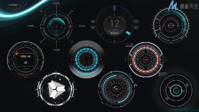 高科技HUD内部元件数据宣传ae模板