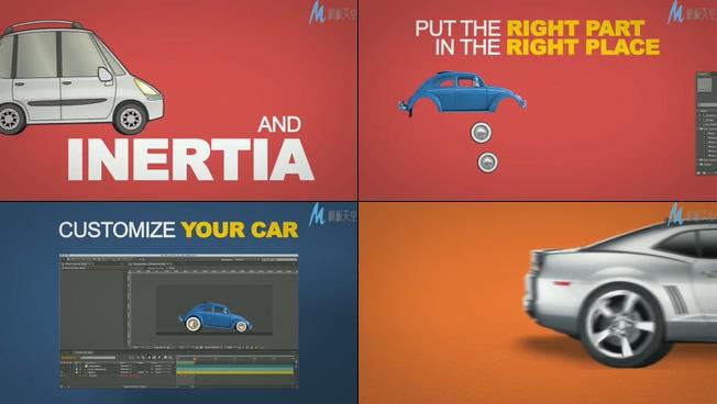 趣味卡通简易汽车时尚宣传的ae模板