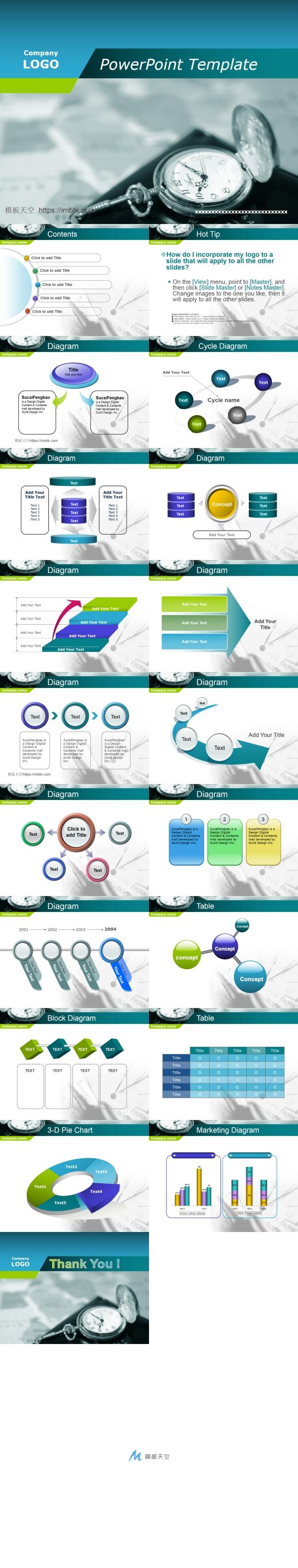 企业培训时间管理图表PPT模板
