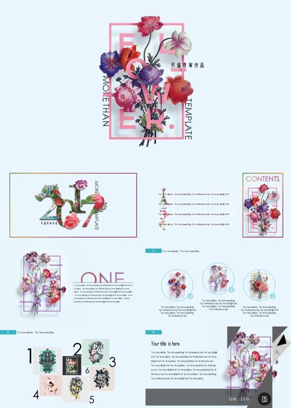 典雅立体花瓣数字图标PPT模板