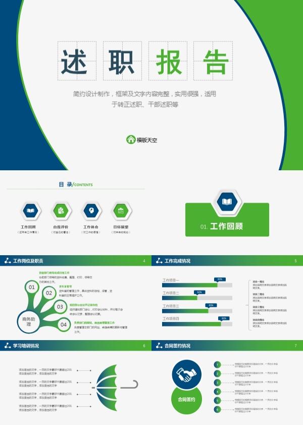 绿色环保简约的述职报告PPT模板