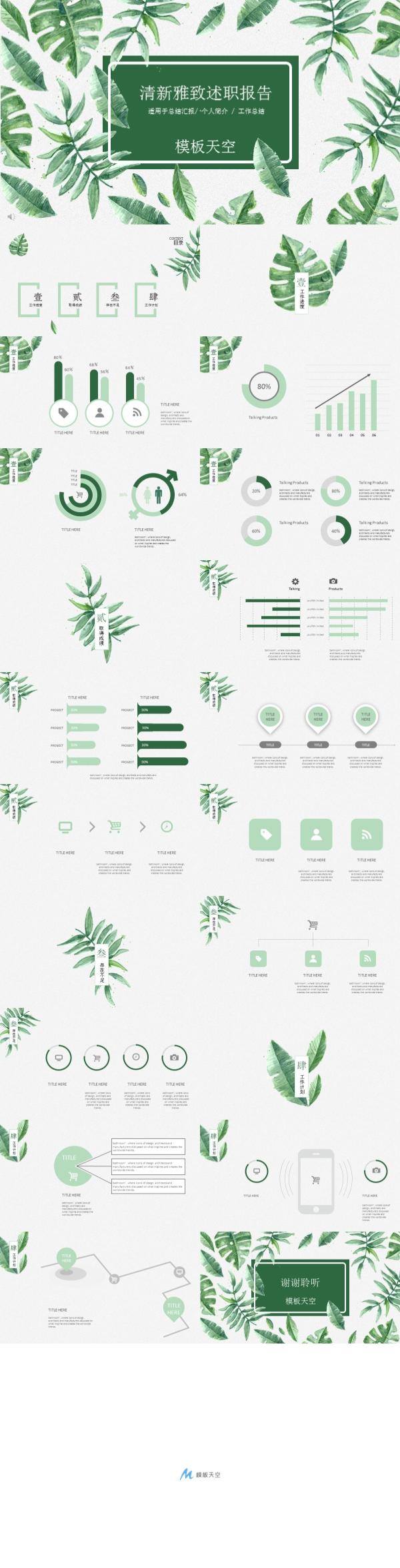 绿色植物树叶环保述职报告PPT模板
