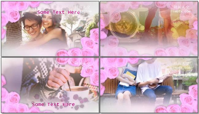 粉色玫瑰浪漫爱情之婚礼相册视频X10模板