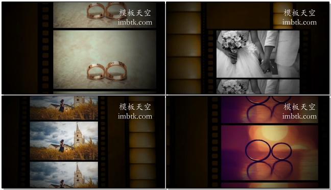 怀旧浪漫婚礼相册电影胶片效果视频模板