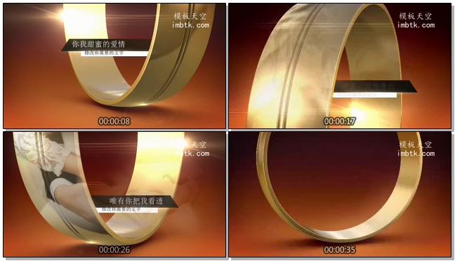 戒指上的婚纱照创意婚礼相册视频会声会影模板