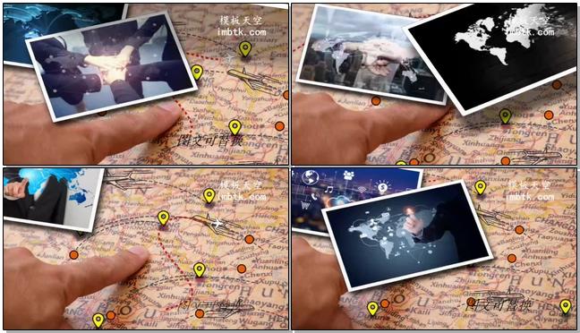 时尚简洁的地图标志企业宣传相册展示的会声会影x10模板