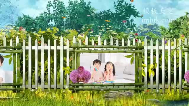 儿童清新大自然蝴蝶栅栏走动写真展示视频模板