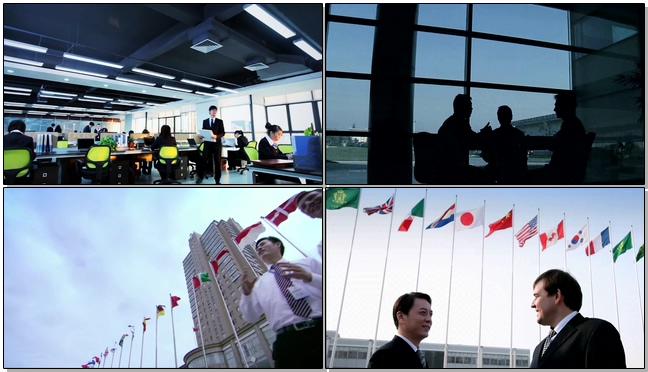 商务合作员工交流各国国旗视频素材