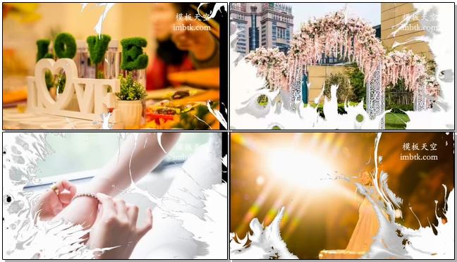 清新淡雅的婚礼婚纱照片相册水墨效果视频模板