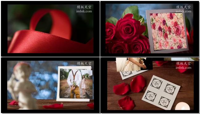 浪漫爱情婚礼相册之玫瑰花瓣蜡烛视频模板