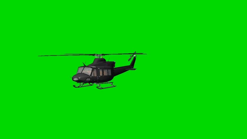 直升机飞行的视频素材带绿色通道可抠图像