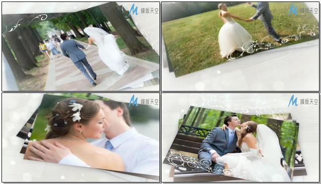 白色浪漫之我们的甜蜜婚纱照相册视频AE模板