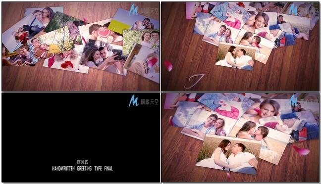 相片组成爱心的浪漫婚庆婚礼视频AE模板