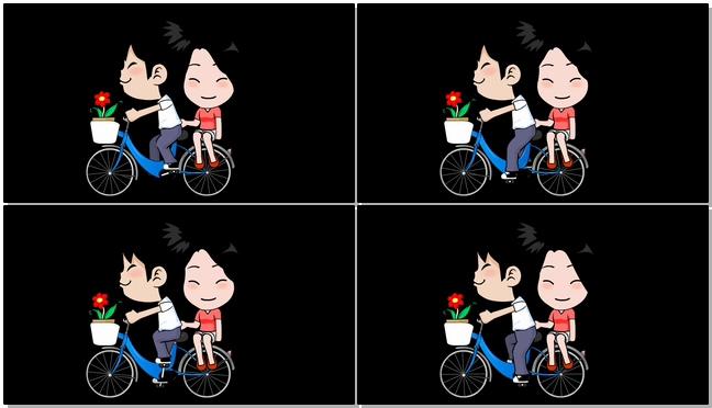 卡通情侣骑自行车的视频素材(带通道)
