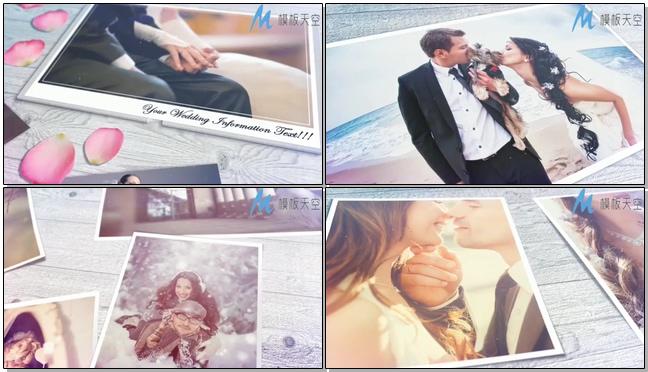 浪漫唯美的婚礼邀请卡片开场的ae模板