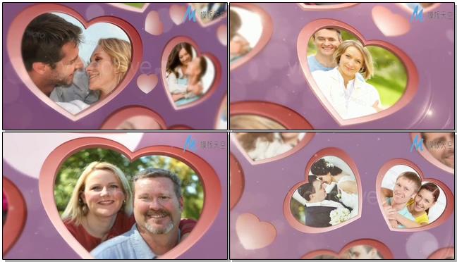 光效过渡心型相框甜蜜婚礼视频相册模板