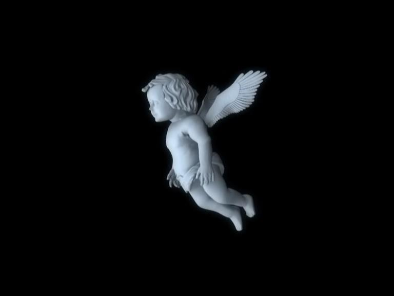从左边观看带翅膀的小天使丘比特的视频素材
