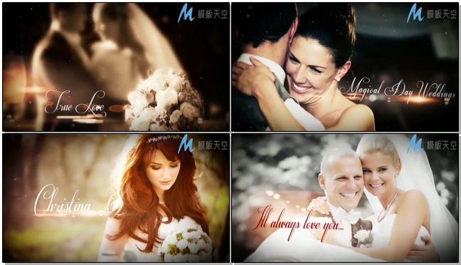 唯美梦幻的爱心展示婚礼相册的ae模板
